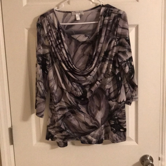 Dress Barn Tops - Dressbarn 3/4 Sleeve Blouse Black and Gray